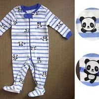 Gymboree cute baby boy blue strip panda zip up footed long sleeve one piece