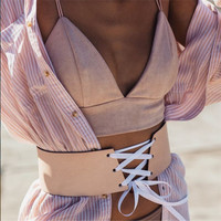 Boho Lace up wide Belt Sexy slim pu leather belts corset 2017 women cummerbunds women's fashion accessories 60106