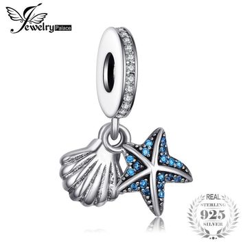 Jewelrypalace 925 Sterling Silver Tropical Sea Star Shell Blue Cubic Zirconia Charm Bracelets Gifts For Women Fashion Jewelry