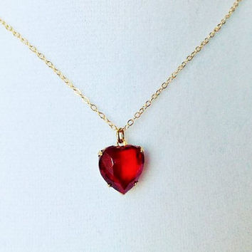 Ruby heart necklace, ruby necklace, gold heart necklace, ruby jewelry, gold simple necklace,layering necklace, glass heart necklace