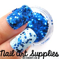 Disco Blues - Bright Blue Raw Nail Glitter Mix 3.5 Grams