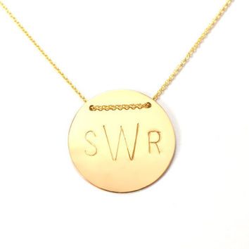 Personalized Custom Letter Initial Monogram Large Circle Disk Charm Mom Mother Gold or Silver Necklace Jewelry
