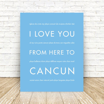 CANCUN Mexico Travel Print | Gift Idea | HopSkipJumpPaper