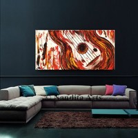 Abstract Red Guitar Painting, Music Artwork, Red and White Modern Art, Large Music Art, Abstract Music Decor, Oil Painting, By Nandita