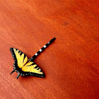 Yellow butterfly hair clip. Butterfly bobby pin, Summer jewelry, Bobby pin, Butterfly jewelry, Insect jewelry, Free Shipping Worldwide,