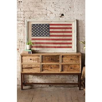 Kalalou CLA1003 White Framed Large American Flag