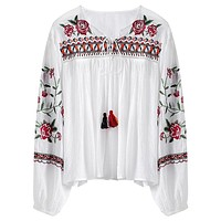 Flower Embroidered Fringed Tie Round Neck Lantern Long Sleeves Women Blouse 3450