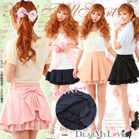 Rakuten: Back tiered skirt with front pleats & ribbon skirt- Shopping Japanese products from Japan