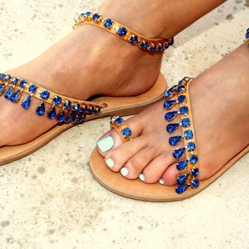 Luxury navy blue rhineston sandals, Chic Sandals,  Greek Sandals, exclusive DELOS sandals, Genuine leather shoes, Summer shoes