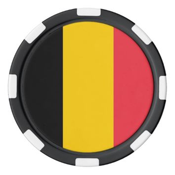 Poker chips with Flag of Belgium