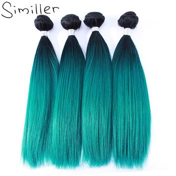 """Similler 100g 4 Pcs/lot Yaki Straight Synthetic Hair Weft Weaving Ombre Color High Temperature Fiber 16"""" 18"""" 20"""" 22"""" 24"""""""
