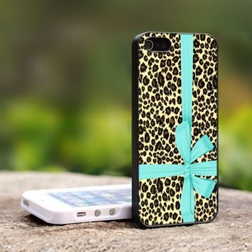 Tiffany Leopard Blue Box - For iPhone 4,4S Black Case Cover