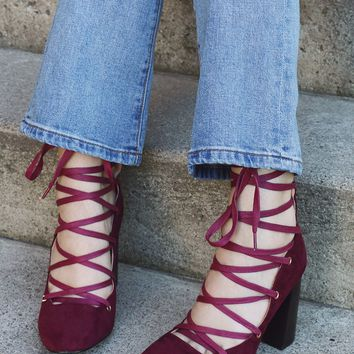 Spellcraft Lace-up Heel - Burgundy - Shoes at Gypsy Warrior