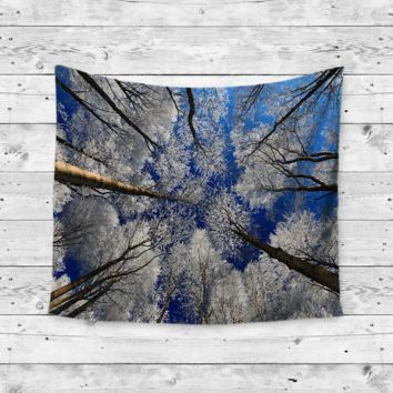 """Winter Trees"" Snow Forrest Wall Tapestry"