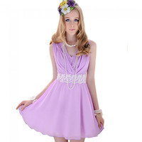 Fashion Temperament Slim Big Swing Chiffon Dress Purple L - Default
