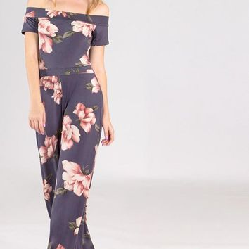 Floral Off the Shoulder Jumpsuit - Grey