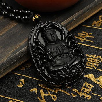 Hot Sale Hand Carved Natural Black Obsidian Avalokitesvara Buddha Pendant With Free Necklace Gemstone Hanging Decorations Gift