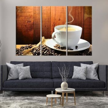 15230 - Large Wall Art Milky Coffee in White Mug with Coffee Beans Canvas Print
