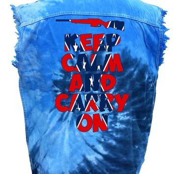 Men's Rebel Flag Sleeveless Denim Shirt Keep Calm And Carry On Tie Dye Vest