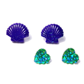 "Handmade ""Mermaid Sparkle"" Earring Set - Purple Polymer Clay Clam Shell Earrings + Sparkle Turquoise Heart Studs - Mermaid Ariel inspired"