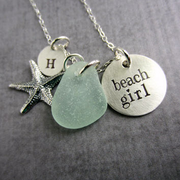 Beach Girl Necklace, Sterling silver, Hand Stamped,Starfish Charm, Seafoam Sea Glass and Initial Letter Charm, Beach Jewelry