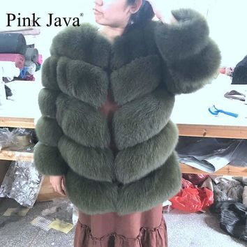 pink java QC8085  2017 new real fox fur coat detachable sleeves coat genuine fox vest high quality women winter fox jacket hot
