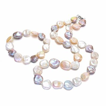 SNH Women's Genuine Natural Freshwater Multi-Color Pearl Jewelry Set