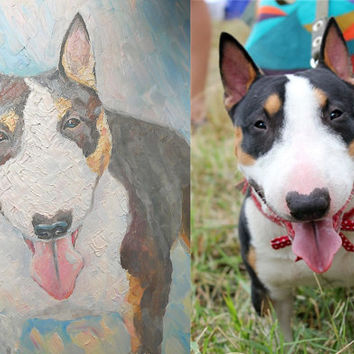 Custom Pet Portrait Oil Painting from photo Dog Cat Puppy Kitty Animal Impasto made to order Personalized gift Photo to painting Bullterrier