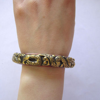 Tibetan Bracelet Bangle Brass Serpant Metal over Plastic