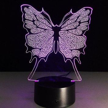 3D Butterfly Shape Touch Colorful Night Light