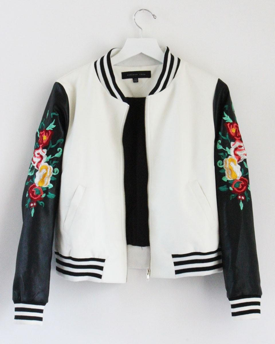 Embroidered rose varsity jacket from mickey s girl fashion