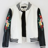 Embroidered Rose Varsity Jacket