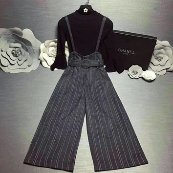 """Chanel"" Women Temperament Fashion  Middle Sleeve Pagoda Sleeve Knit Shirt Stripe Wide Leg Pants Back Strap Trousers Set Two-Piece"