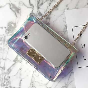 2017 New Holographic Laser Small Clutch Crossbody Bag