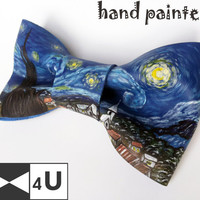 Van Gogh Starry Night Doctor Who Leather Bow Tie Geeky Fancy Bowtie Necktie Unique OOAK Exclusive Groom Wedding Gift Mens Lady Dickie Bow