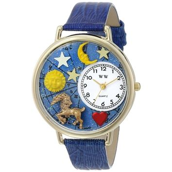 SheilaShrubs.com: Unisex Capricorn Royal Blue Leather Watch G-1810005 by Whimsical Watches: Watches