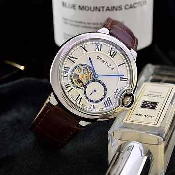 DCCK C040 Cartier Simple Business Leisure Automatic Machinery Leather Watchand Watches Maroon Sliver Blue
