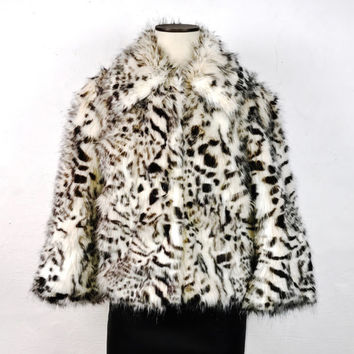 Vintage Faux Fur Coat Snow Leopard Dark Brown Black White Hidden Snap Closure Size Small Off White Animal Print Jacket Coat Trendy Fashion