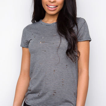 In The Mix Distressed Top