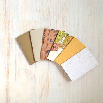 Notebooks: Tiny Journal Set of 6, Map, Natural, Wedding, Favors, Stocking Stuffer, For Her, For Him, Gift, Unique, Mini Journals, Kids, T038