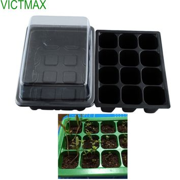 VICTMAX 5 Set 12 Cells Seed Nursery Pot Planting Tray Kit Plant Germination Box With Lid Garden Grow Box