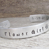 CUSTOM ORDER 3 CUFFS Flower Girl 1 Toddler and 2 Child Size Bracelet Hand Stamped Jewelry Custom Cuff Aluminum Personalized
