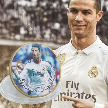WR Famous Sports Star Commemorative Gold Plated Coin Cristiano Ronaldo Challenge Coin Metal Home Decoration for Collection