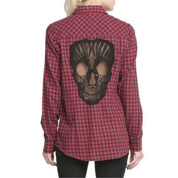Super Comfortable Red Plaid Long Sleeve Patterned with Skull on Back