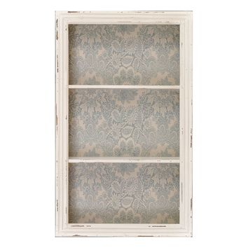 Floral Wood Wall Cabinet (Grey)
