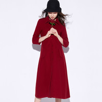 Maroon Sleeve Button Collar Dress Coat