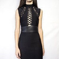 Queen Bee Black Helena Dress sleeveless high neck with open lace detail