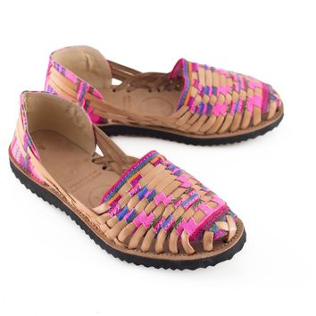 Women's Neon Pink Mayan Woven Leather Huarache Sandals