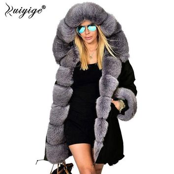 Ruiyige New Fashion Winter Jacket Women Warm Coat Faux Fur Cotton Fleece Overcoat Female Long Hooded Coats Parkas Hoodies