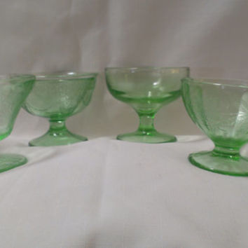 Lot of Four Vaseline Glass Sherbets (622)